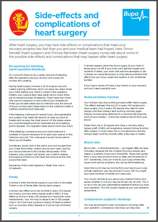 side effects and complications of heart surgery ctsnet